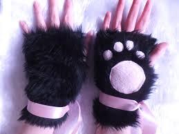 Neko Halloween Costume Cute Black U0026 Pink Furry Cosplay Cat Kitty Neko Paw Fingerless