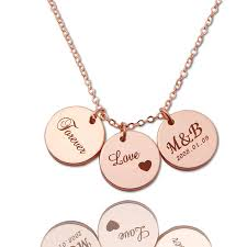 custom engraved necklaces disc initial necklace gold personalized necklaces custom