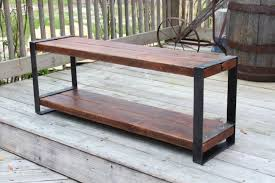 reclaimed wood bench industrial bench wood and metal