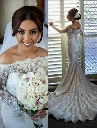 off shoulder long sleeves mermaid wedding dresses lace pearls