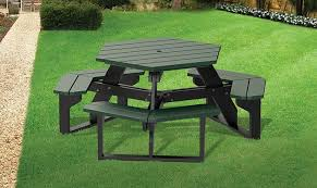 recycled plastic picnic tables hex table barco products