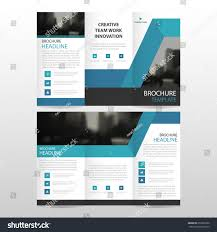 blue abstract business trifold leaflet brochure stock vector