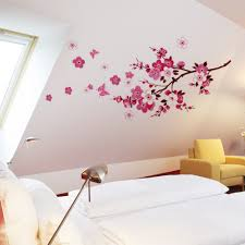 100 flower wall stickers for bedrooms online get cheap pink flower wall stickers for bedrooms new small sakura flower wall stickers bedroom room pvc decal