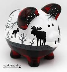 customized piggy bank buffalo plaid and moose personalized piggy bank custom nursery