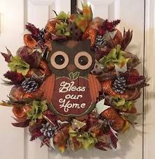 Thanksgiving Deco Mesh Wreaths Autumn Thanksgiving Fall Harvest Owl Bless Our Home Deco Mesh