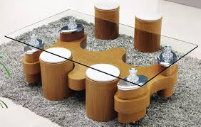 Wooden Center Table Glass Top Furniture S Shape Glass Top Table And Round Ottomans With White