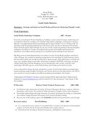 Resume Samples General Contractor by Social Media Marketing Resume Berathen Com