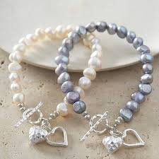 silver pearls bracelet images Silver heart bracelet with freshwater pearls by kathy jobson jpg