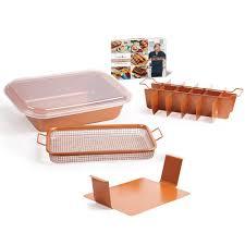 copper chef bake crisp pan air fryer non stick baking crisper