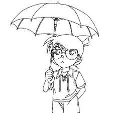 shinichi kudo conan edogawa umbrella coloring pages detective