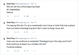 roy choi holds vegetarian un thanksgiving buffet at commissary
