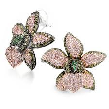 peridot stud earrings cz peridot color pink orchid flower pave stud earrings