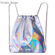holographic bags women hologram backpack silver drawstring women s