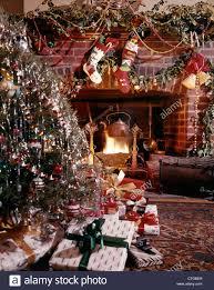 1960 s christmas tree lights 1960s christmas tree stockings presents decoration around blazing