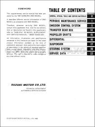 1991 suzuki samurai 2wd repair shop manual supplement original