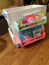 book storage kids bekvam meets oltedal for mobile kids book storage ikea hackers