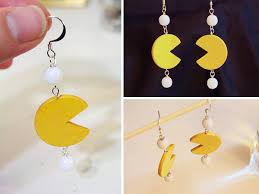 pacman earrings pacman paper tally s treasury
