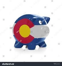 State Flag Of Colorado Piggy Bank Flag Coating Over Isolated Stock Photo 182505683