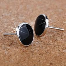 s mens earrings 2017 hot sell fashion black men s earrings 925 sterling silver men