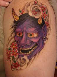 popular oni mask tattoo made on whole back tattooshunter com