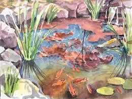 koi pond watercolor 7x9