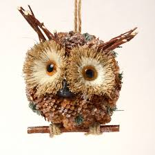 owl lovers pine cone wide eyed stick owl on perch christmas