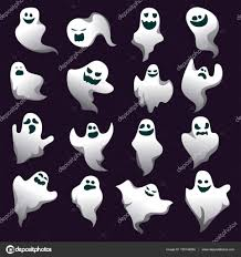 cartoon ghost halloween background cartoon spooky ghost character collection spooky and scary
