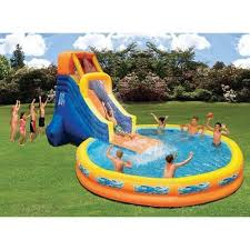 pool with water slide swimming outdoor cool