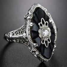art deco onyx and diamond dinner ring 1930 u0027s love by ollie