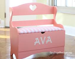 ava u0027s pretty pink bench and storage chest
