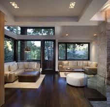 dark floor light trim living room contemporary with beige sofa