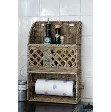 rustic rattan kitchen roll holder napkin holders u0026 kitchen roll