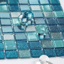 Sea Glass Tile Backsplash Ideas Bathroom Mosaic Mirror Tile Sheets - Teal glass tile backsplash