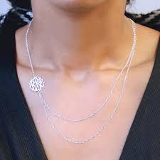 silver monogram necklace layered silver monogram necklace shop online deals