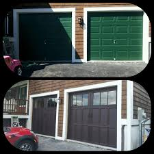Dutchess Overhead Door Before After Installation Pictures From Green To Mahogany