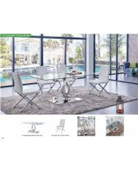 savings on esf 151 modern dining table with clear glass top 85