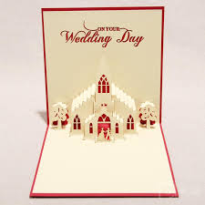 card for on wedding day 3d sweet wedding greeting cards handmade paper sculpture creative