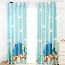 Teal Nursery Curtains Arrival Baby Blue Cartoon Zoo Nursery Curtains
