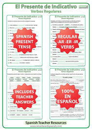 spanish present tense u2013 regular verbs worksheets woodward spanish