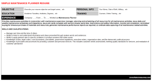 Sample Maintenance Resume by Production Planner Resume Samples Resume Templates Maintenance
