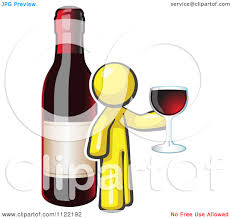 cartoon wine bottle cartoon of a yellow man wine tasting by a giant bottle royalty