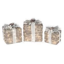 8 10 12 inch micro led lighted gift box in brown set of 3