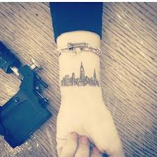newyork skyline travel tattoo on wrist