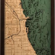 Map River North Chicago by Chicago Illinois Wood Map 3d Nautical Topographic Chart Framed Art