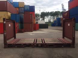 20ft flatrack collapsible shipping container for sale or rent at caru