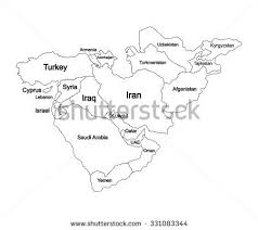 outline map middle east middle east map stock vector 450450637