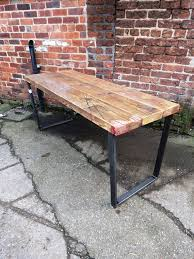 bureau bois acier table à manger bureau récupéré trapèze chic industriel bar