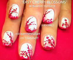 robin moses nail art nail art with cherry blossoms in white on