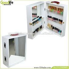 Nail Varnish Cabinet Wooden Factory Mirrored Nail Polish Makeup Storage Cabinet