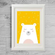 poster chambre bebe affiche enfant ours jaune cadeau de noël enfant poster ours